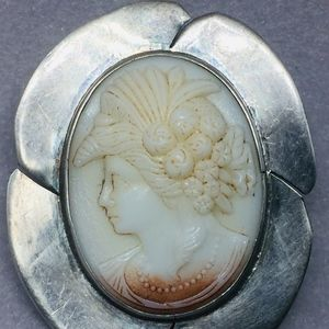 50s MEXICO STERLING SILVER SHELL CAMEO PENDANT/PIN